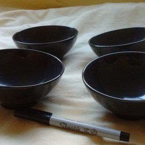 Set of 4 black glass IKEA bowls
